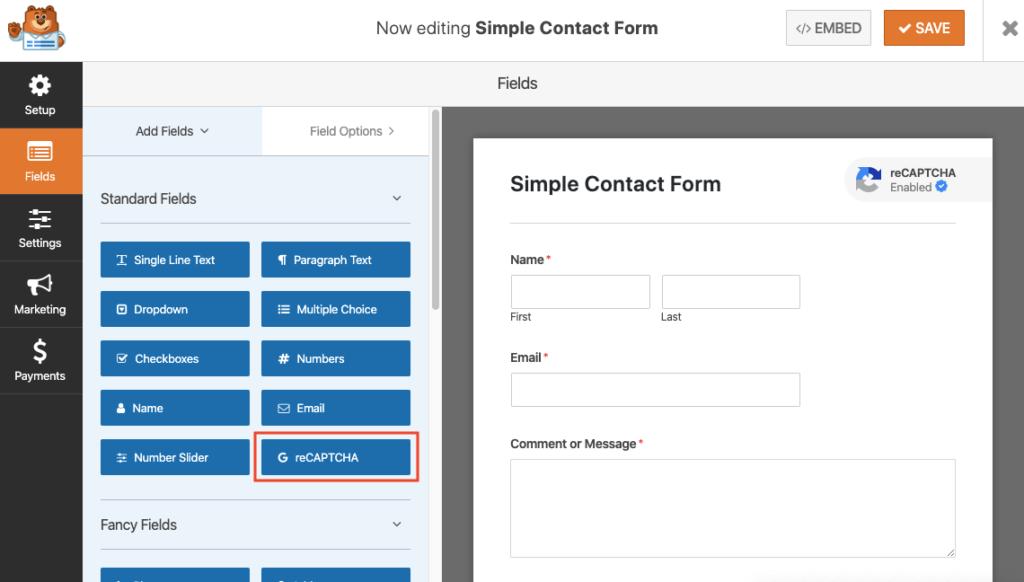 WPForms dashboard plugin form creation wordpress