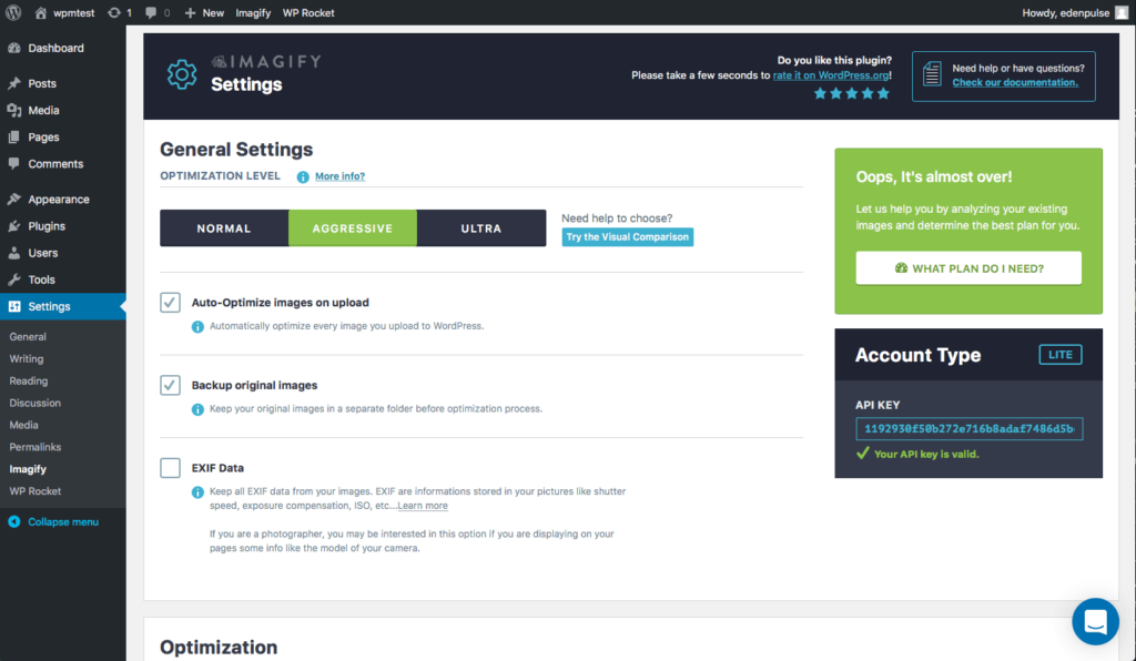 imagify plugin images optimization wordpress